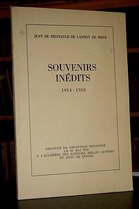 Livre ancien Savoie - Souvenirs inédits. 1914-1918 - de Regnauld de Lannoy de Bissy, Jean