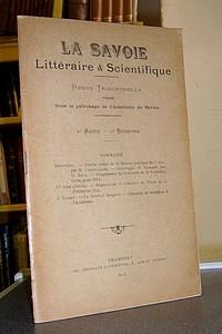 Livre ancien Savoie - La Savoie Littéraire & Scientifique, 8e année, 1er trimestre 1913 - La Savoie Littéraire & Scientifique