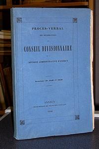 Livre ancien Savoie - Procès Verbal des délibérations du Conseil Divisionnaire de la Division... -