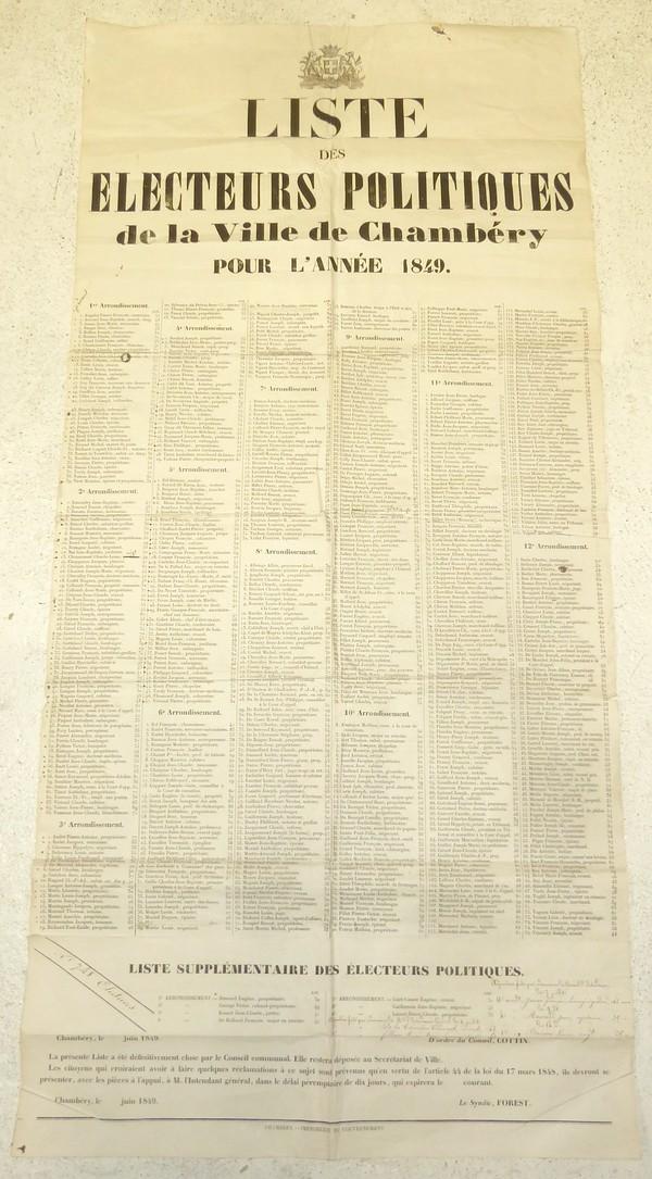 Livre ancien Savoie - Liste des électeurs politiques de la Ville de Chambéry pour l'année 1849 - Placard