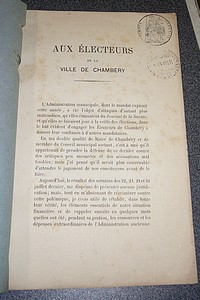 Livre ancien Savoie - Aux électeurs de la Ville de Chambéry - D'Alexandry (Maire de Chambéry)
