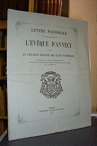 Livre ancien Savoie - Lettre Pastorale de Monseigneur l'Évêque d'Annecy au sujet de l'Invasion... - Claude Marie Magnin, Évêque d'Annecy