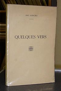 Livre ancien Savoie - Quelques vers - d'Oncieu, Amé