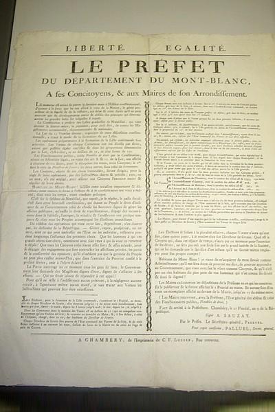 Livre ancien Savoie - Placard « Liberté - Egalité - Le Préfet du Département du Mont-Blanc, à... - Sauzay (Préfet du Département du Mont Blanc)