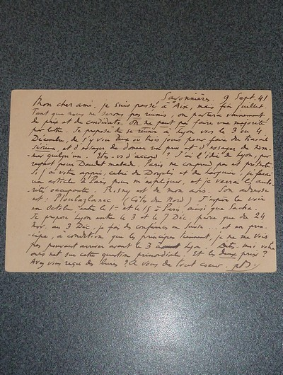 Livre ancien Savoie - Lettre carte postale, datée et signée, adressée à Francis Carco, se... - Benjamin René