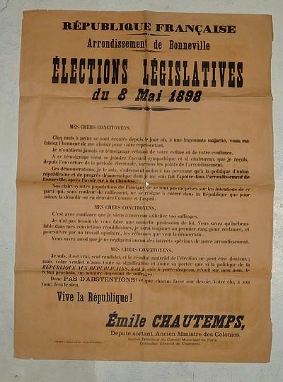 Livre ancien Savoie - 3 Affiches concernant Émile Chautemps : « Scrutin de ballotage du 12... - Chautemps Émile