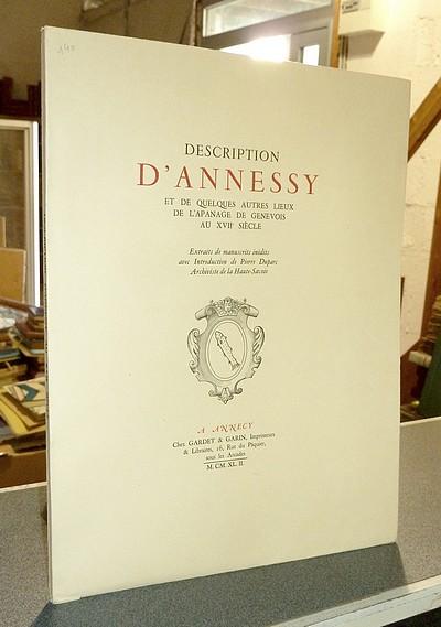 Livre ancien Savoie - Description d'Annessy et de quelques autres lieux de l'apanage de Genevois au... -