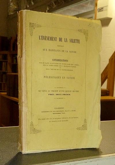 Livre ancien Savoie - L'évènement de la Salette rappelé aux habitants de la Savoie.... -