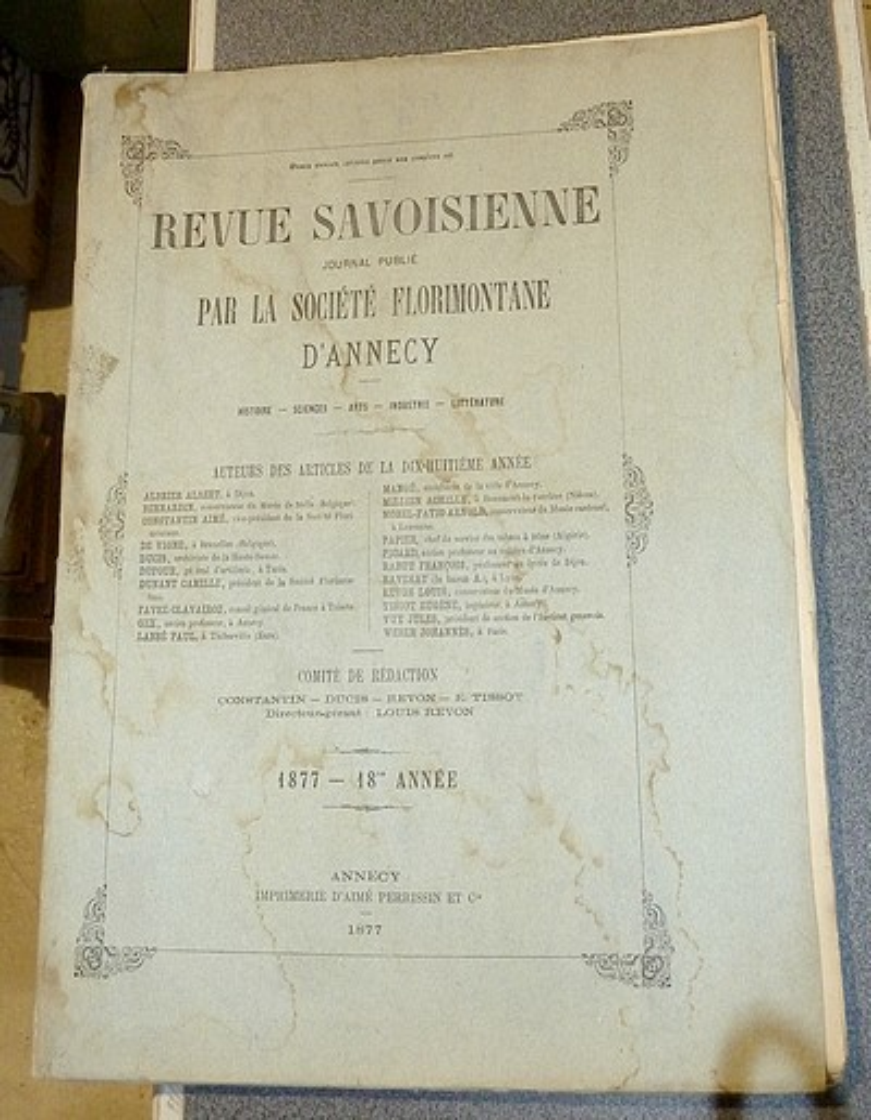 Livre ancien Savoie - Revue Savoisienne, 1877, 18e année - Revue Savoisienne