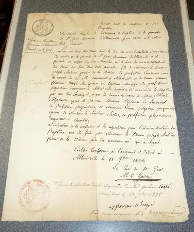 Livre ancien Savoie - Copie d'Extrait de 4 registres de Baptême (naissance) sur la Paroisse de Saint... - Perrier de la Bathie, Antoine