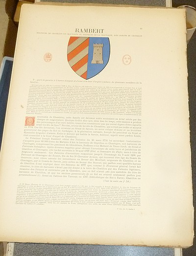 Livre ancien Savoie - Armorial et Nobiliaire de l'Ancien Duché de Savoie (Tome V - livraison 5) - Foras, Le Cte E. Amédée de & Mareschal de Luciane, Cte F.-C. de & Viry, Cte Pierre de