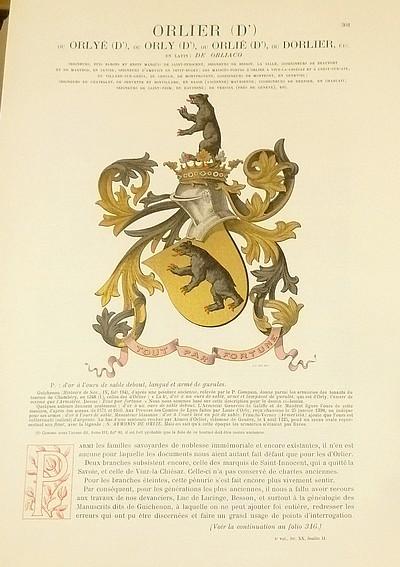Livre ancien Savoie - Armorial et Nobiliaire de l'Ancien Duché de Savoie (Tome IV - Livraison 20) - Foras, Le Cte E. Amédée de & Mareschal de Luciane, Cte F.-C. de