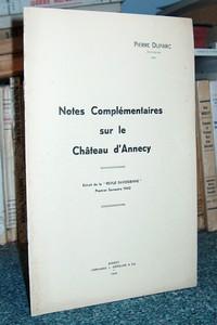 Livre ancien Savoie - Notes complémentaires sur le château d'Annecy - Duparc Pierre