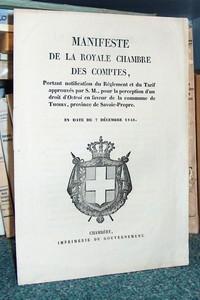 Livre ancien Savoie - Manifeste de la Royale Chambre des Comptes, portant notification du règlement... - Manifeste