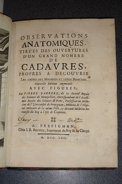 Livre ancien - Observations anatomiques tirées des ouvertures d'un grand... - Barrere Pierre