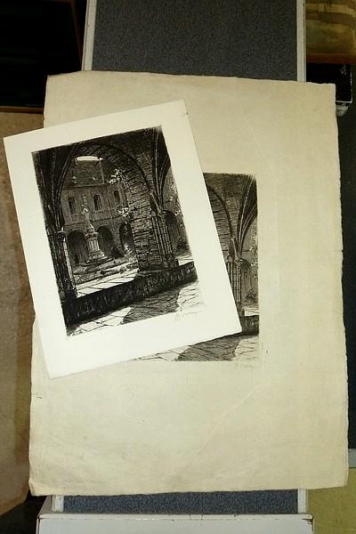 Livre ancien - Intérieur du cloitre de l'Abbaye de Hautecombe (eau-forte... - Drevet Johanny
