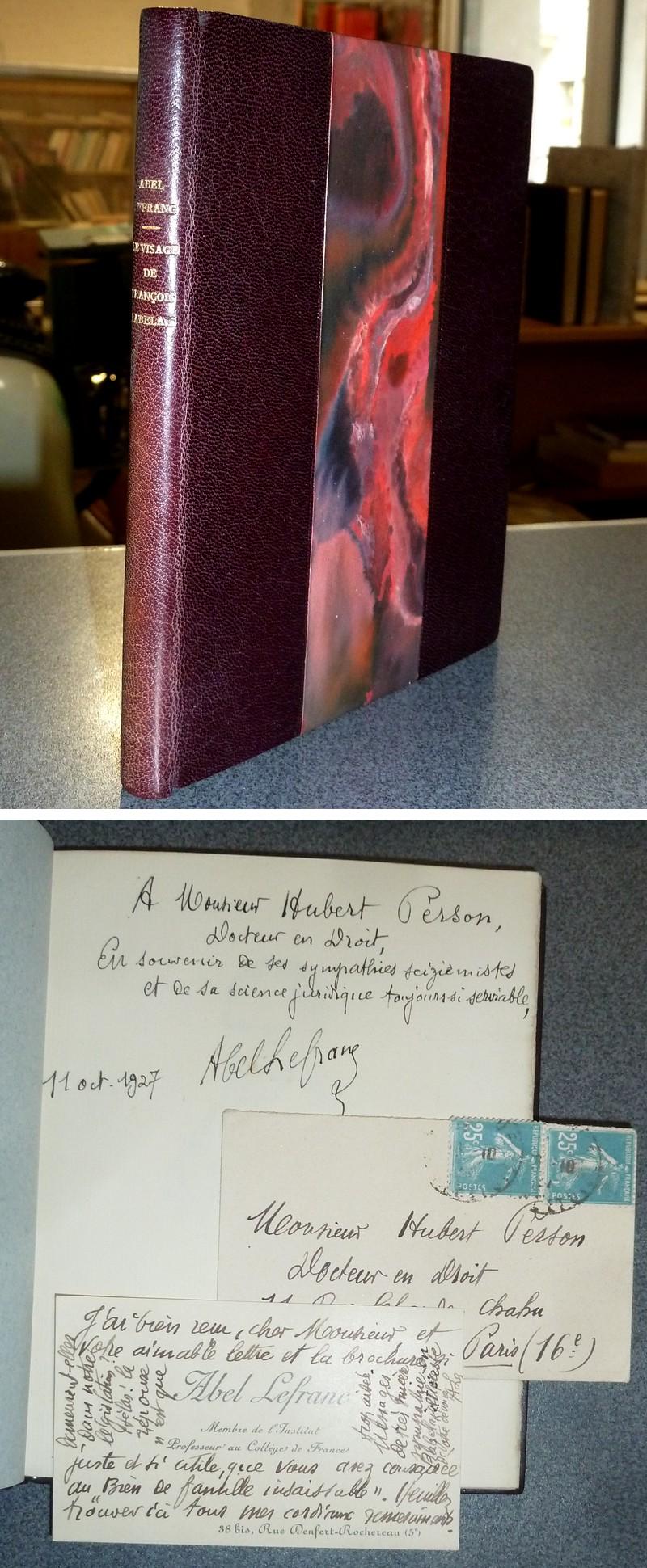 Livre ancien - Le visage de François Rabelais (avec une lettre autographe... - Lefranc, Abel