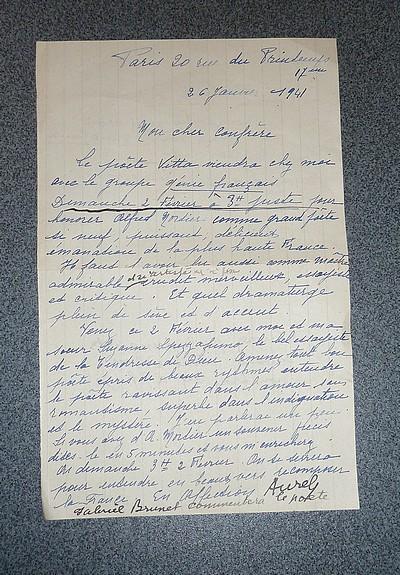 Livre ancien - Lettre autographe signée et datée de janvier 1941 - Aurel (Valérie de Faucamberge)