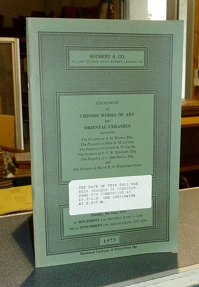 livre ancien - Catalogue of Chinese Works of Art and Oriental Ceramics. Sotheby & Co, London, 5th June 1973, changed to June 7th -